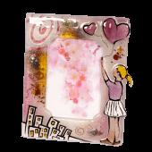 Κορνίζα γυάλινη 18χ13 ''Κορίτσι-μπαλόνι''ροζ