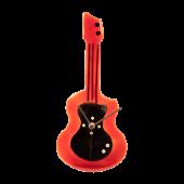 Ρολόϊ  κιθάρα γυάλινο επιτραπέζιο κόκκινο-μαύρο σε γυάλινη βάση