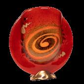 Βάζο 19φ γυάλινο χρυσή σπείρα κόκκινο σε μπρούτζινη βάση
