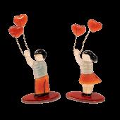 Σετ γυάλινο αγόρι-κορίτσι με καρδούλες σε γυάλινη βάση 15χ8