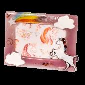 Κορνίζα γυάλινη 13χ18 ''Μονόκερος''  ροζ
