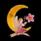 Γυάλινη νεράιδα-φεγγάρι σε μεταλλική βάση 13,5χ8