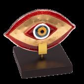 Μάτι γυάλινο 12χ14 MSMG13 κόκκινο σε ξύλινη βάση