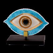 Μάτι γυάλινο 15χ17 MSMG17 λευκό-γαλάζιο σε ξύλινη βάση