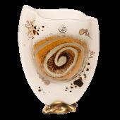 Βάζο γυάλινο 23χ16 χρυσή σπείρα λευκό σε μπρούτζινη βάση
