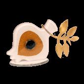 Ρόδι γυάλινο με μάτι λευκό-μπρούτζινο κλαδί 9χ16 σε γυάλινη βάση