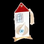 Σπίτι γυάλινο 16χ7,5 με σκόρδο κόκκινο-λευκό μεταλλική βαση