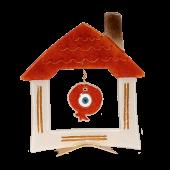 Σπίτι γυάλινο με κενό και ρόδι 23χ20 σε μεταλλική βάση