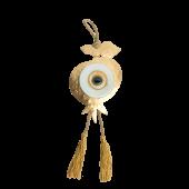 Γούρι ρόδι-μάτι γυάλινο SFMG7 λευκό 19χ12,5 σε σφυρήλατη μεταλλική βάση
