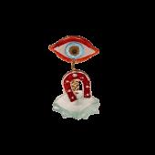 Μάτι γυάλινο spiral 12χ7 κόκκινο
