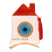 Σπίτι γυάλινο 15χ10 ''Καλή τύχη'' με μάτι σε μεταλλική βάση