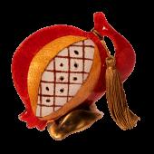 Ρόδι γυάλινο 16Φ κόκκινο ριγέ σε μπρούτζινη βάση
