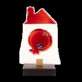 Σπίτι γυάλινο 15χ9 με ανάγλυφο γυάλινο ρόδι σε ξύλινη βάση