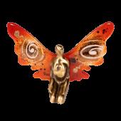 Μπρούτζινη νεράιδα 14χ20 χρυσή σπείρα κόκκινο με γυάλινα φτερά