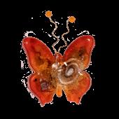 Γυάλινη πεταλούδα 10χ9 χρυσή σπείρα κόκκινο επιτοίχια
