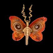 Πεταλούδα γυάλινη 15χ17 χρυσή σπείρα κόκκινο