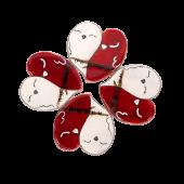 Γυάλινο σετ σουβέρ 4άδα καρδιά 10εκ. ζευγάρι πουλάκια σε κλαδάκι