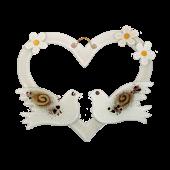 Γυάλινη καρδιά λευκή με περιστέρια επιτοίχια 23χ26