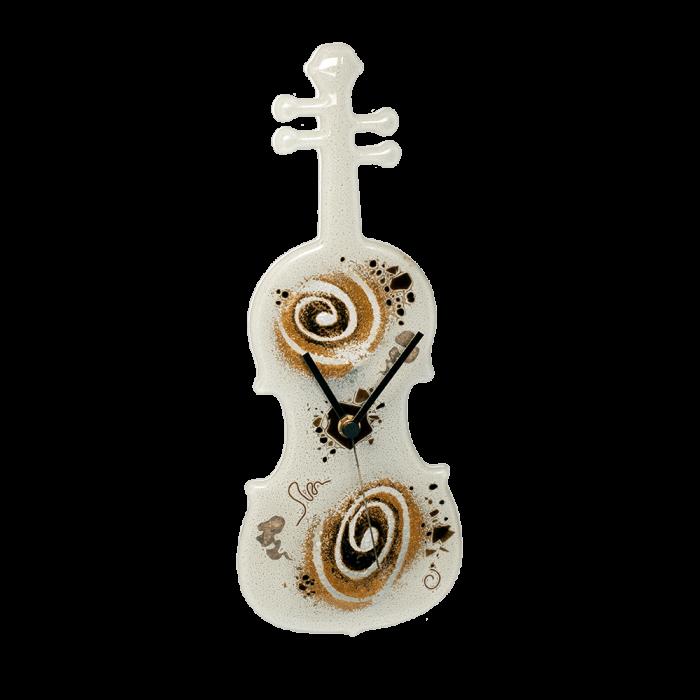 Ρολόϊ βιολί γυάλινο 33χ11,5 χρυσή σπείρα λευκό επιτραπέζιο