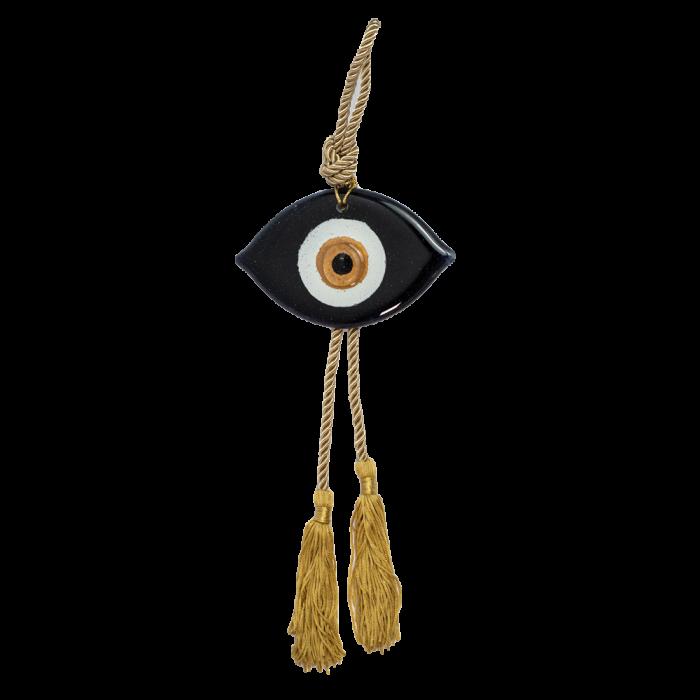 Γούρι μάτι γυάλινο MAAG 8χ13 μαύρο