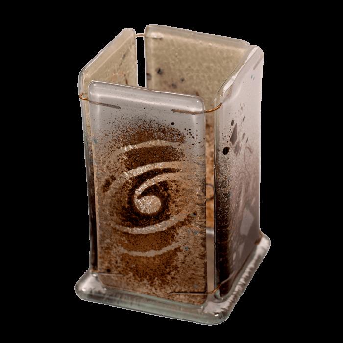 Μολυβοθήκη 10χ6 χρυσή σπείρα καφέ-λευκό