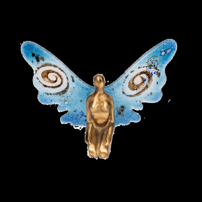 Νεράϊδα μπρούτζινη 14χ20 χρυσή σπείρα γαλάζιο με γυάλινα φτερά