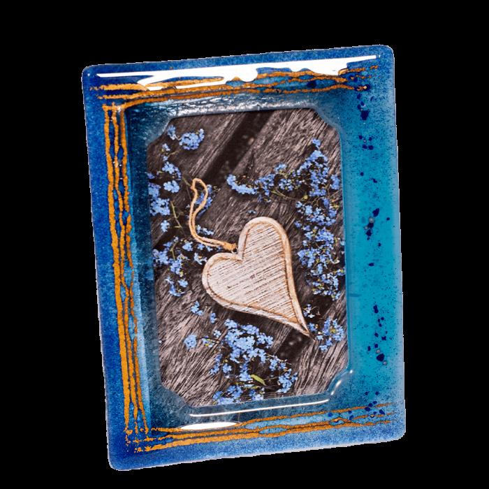Κορνίζα γυάλινη 18χ13 Ίριδα γαλάζιο