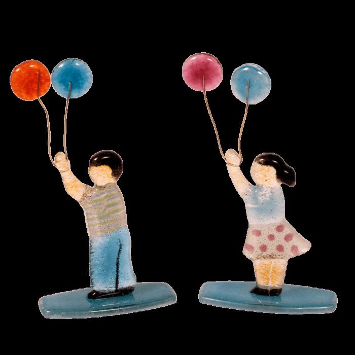 Σετ γυάλινο αγόρι-κορίτσι με μπαλόνια σε γυάλινη βάση 15χ8