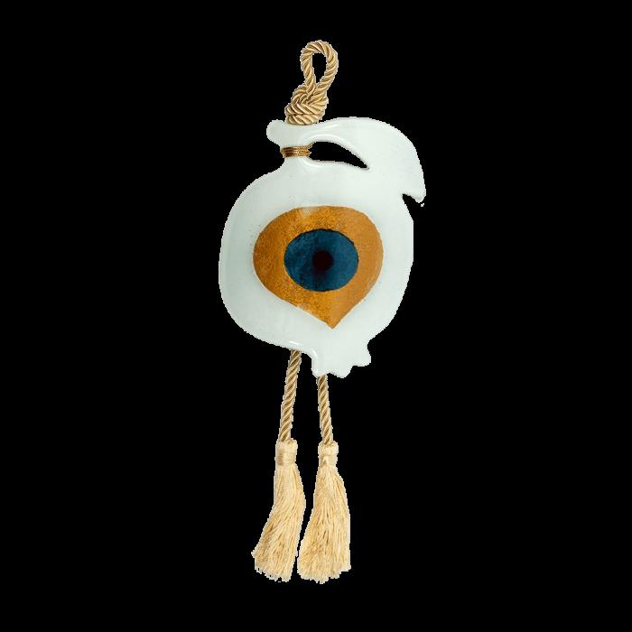 Γούρι ρόδι γυάλινο 16Φ λευκό με μάτι