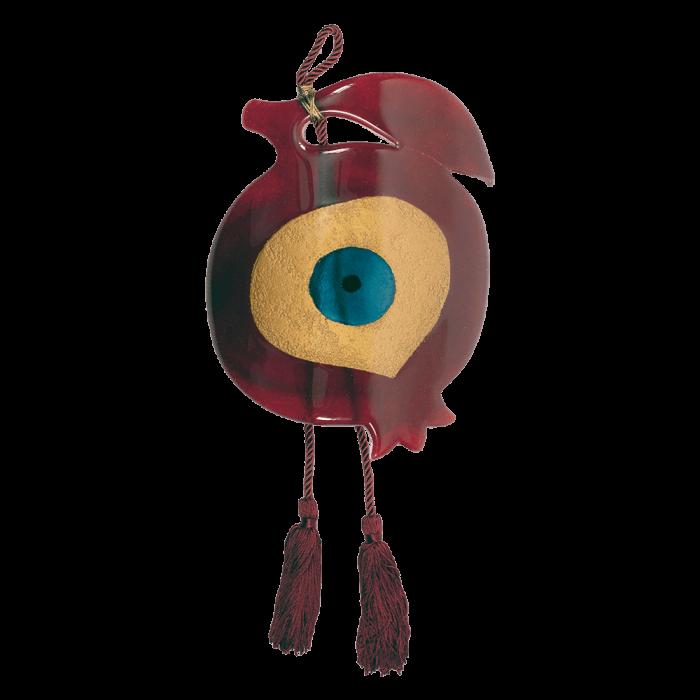 Γούρι ρόδι γυάλινο 25Φ κόκκινο με μάτι