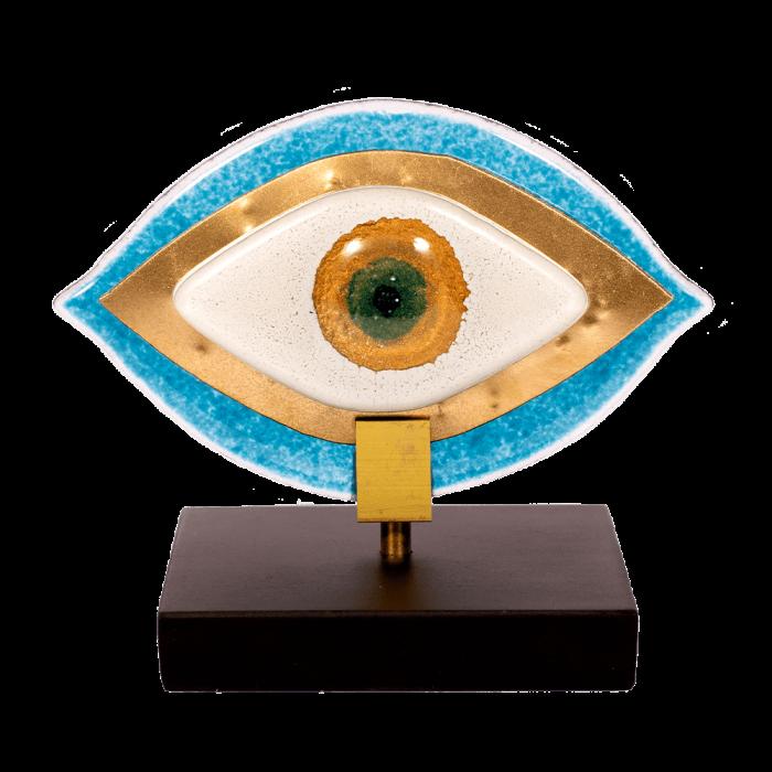Μάτι 12χ14 MSMG13 γαλαζιο-λευκό σε ξύλινη βάση
