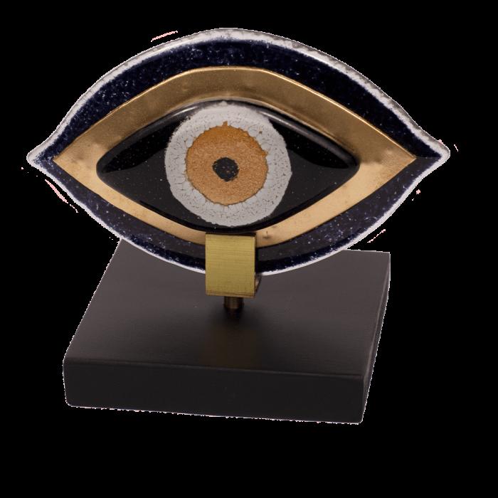 Μάτι γυάλινο 12χ14 MSMG13 μαύρο σε ξύλινη βάση