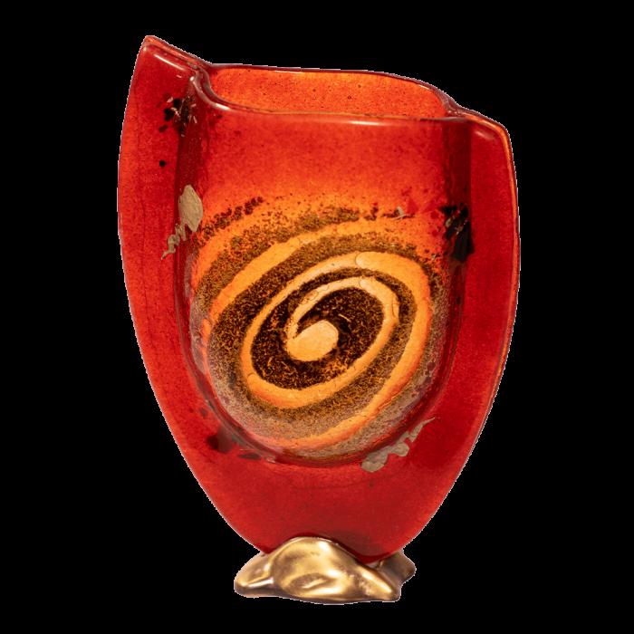 Βάζο γυάλινο 23χ16 χρυσή σπείρα κόκκινο σε μπρούτζινη βάση