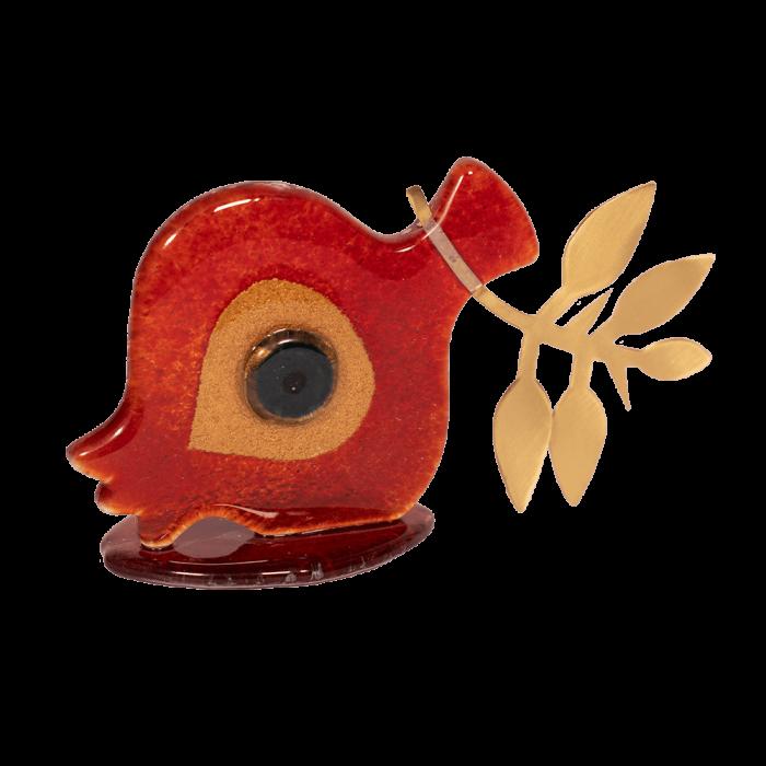 Ρόδι με μάτι κόκκινο-μεταλλικό κλαδί 9χ16 γυάλινη βάση