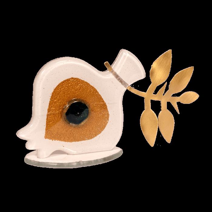 Ρόδι με μάτι λευκό-μεταλλικό κλαδί 9χ16 γυάλινη βάση