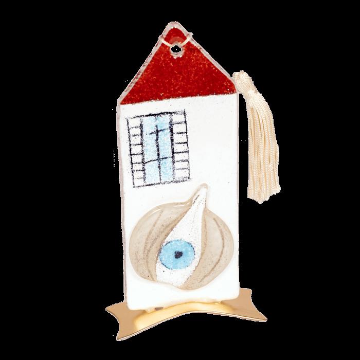 Σπίτι 16χ7,5 με σκόρδο κόκκινο-λευκό μεταλλική βαση