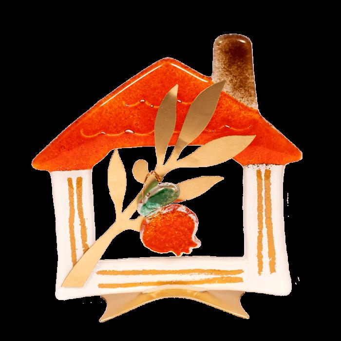 Σπίτι γυάλινο μικρό με κενό και ροδιά σε μεταλλική βάση 14χ13,5