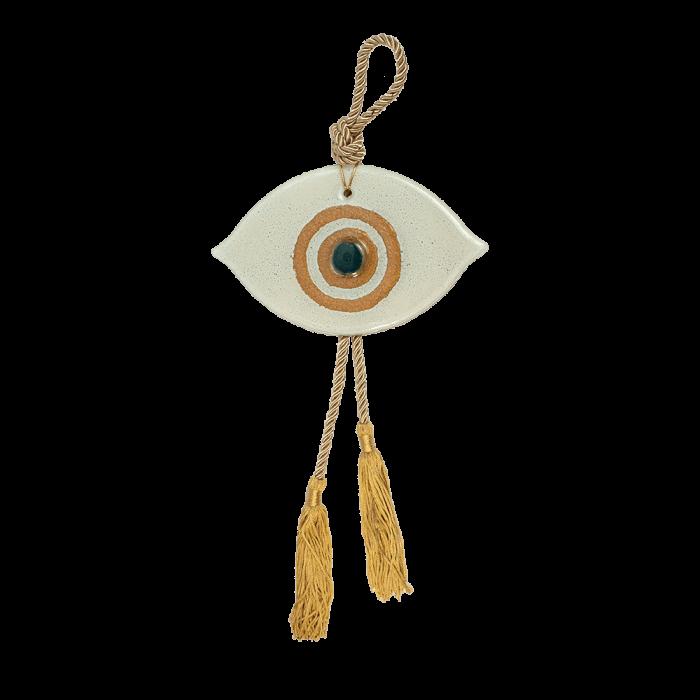 Γούρι μάτι 10,5χ17 λευκό-χρυσό