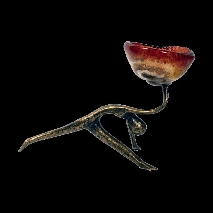 Κηροπήγιο μπρούτζινο 13χ18 μορφή σπαγγάτο χρυσή σπείρα κόκκινο