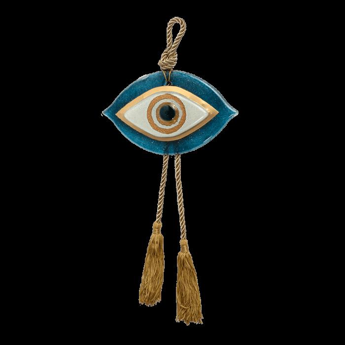Γούρι γυάλινο μάτι  MSMG17 γαλάζιο-λευκό 10.5x17