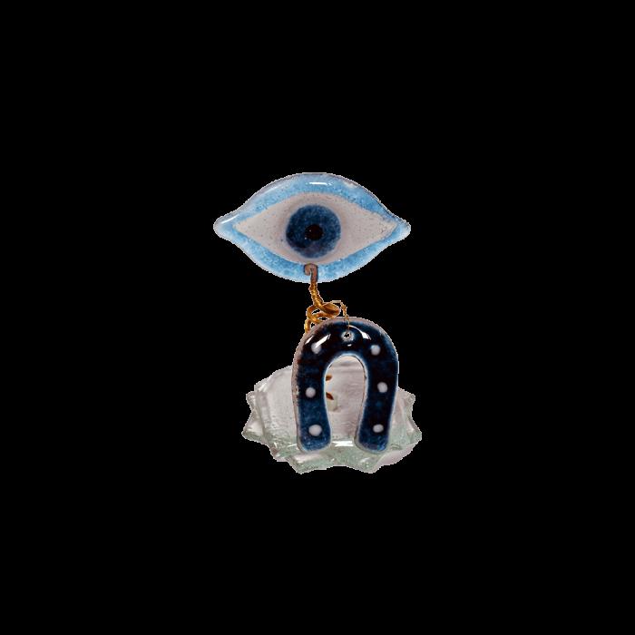 Μάτι γυάλινο spiral 12χ7 λευκό