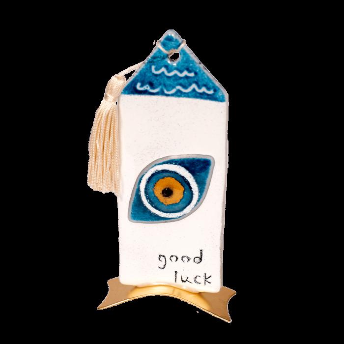 Σπίτι γυάλινο 16χ7,5 ''Good luck''γαλάζιο με μάτι μεταλλική βάση