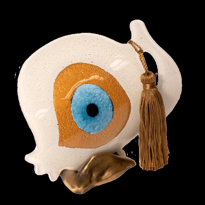 Ρόδι γυάλινο 16Φ λευκό με μάτι σε μπρούτζινη βάση