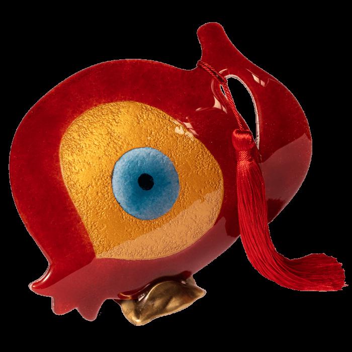 Ρόδι γυάλινο 25Φ κόκκινο με μάτι σε μπρούτζινη βάση