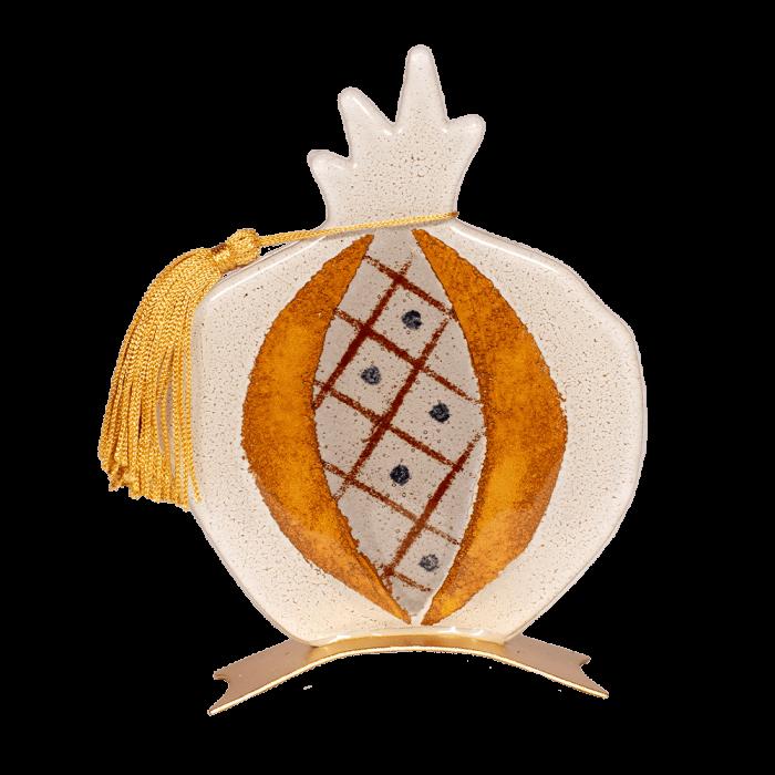 Ρόδι γυάλινο καρπός ριγέ λευκό 16Φ σε μεταλλική βάση
