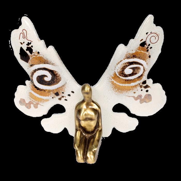Μπρούτζινη νεράϊδα 19χ23 χρυσή σπείρα λευκό με γυάλινα φτερά