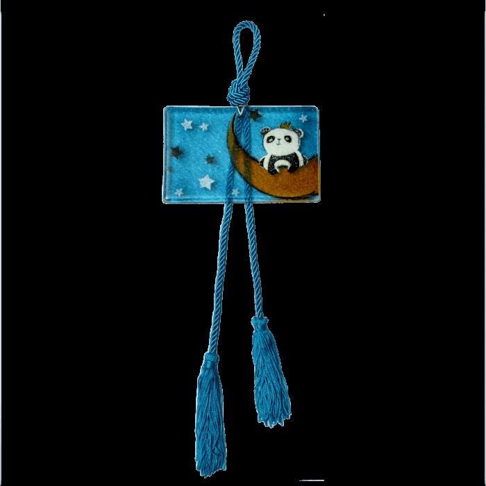 Γούρι γυάλινο ''Prince teddy'' σιέλ  9χ13,5