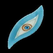 Πιατέλα χειροποίητη γυάλινη πιρόγα ''Καλλίστη'' μάτι γαλάζιο 13,5x41,5