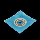 Πιατέλα χειροποίητη γυάλινη ''Καλλίστη'' μάτι γαλάζιο 21χ21