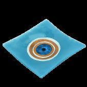 Πιατέλα χειροποίητη γυάλινη ''Καλλίστη'' μάτι γαλάζιο 24x24